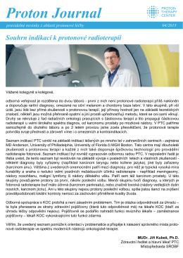 Proton Journal 4/2015 Souhrn indikací k protonové terapii