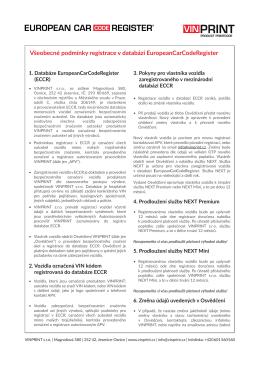 Všeobecné podmínky registrace v ECCR