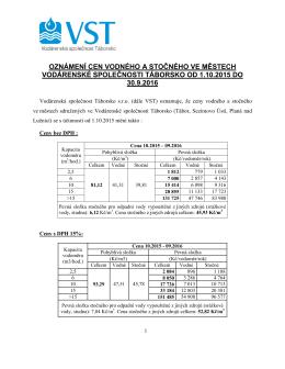 Ceny V+S 1.10.2015