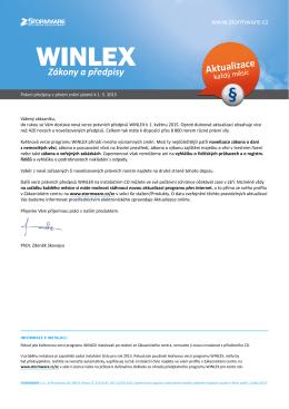 WINLEX 2015, stav k 1. 5. 2015