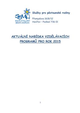 Nabídka vzdělávacích programů pro rok 2015
