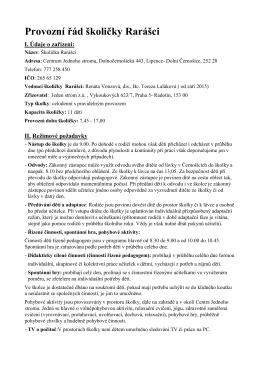 provozní řád školička Rarášci, revize k 10.4. 2015