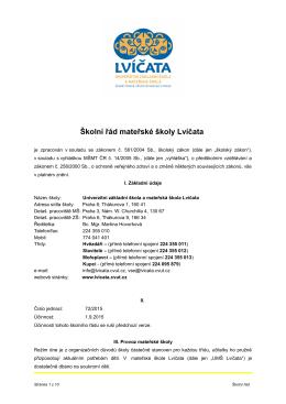 Školní řád mateřské školy Lvíčata - Univerzitní mateřská škola Lvíčata