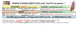 Aktuální rozpis cvičení 2015