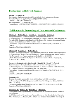 Publications in Refereed Journals Publications in Proceedings of