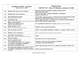 Zoologický seminář – program PODZIM 2015 (ÚBZ PřF MU – Brno