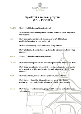 Sportovní a kulturní program (9.3. – 15.3.2015)