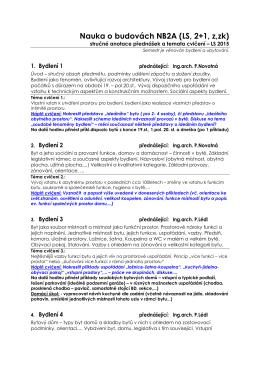 Nauka o budovách NB2A (LS, 2+1, z,zk)