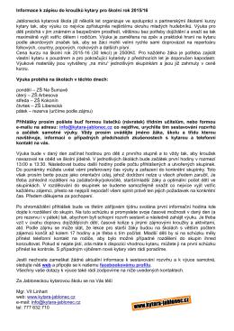 Informace k zápisu do kroužků kytary pro školní rok 2015/16