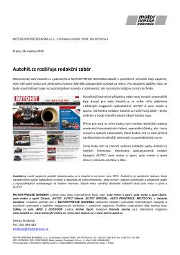 Autohit.cz rozšiřuje redakční záběr