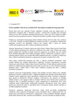 Tisková zpráva 13. listopadu 2015 Česká republika: Osm let po