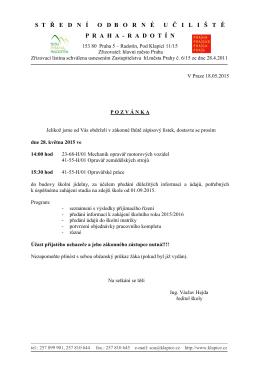 Pozvánka pro přijaté uchazeče - SOU, Praha