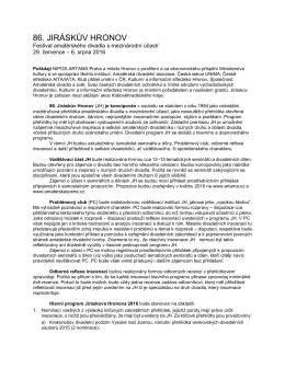 Jiráskův Hronov 2016 — propozice