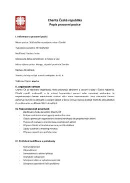 Charita Česká republika Popis pracovní pozice