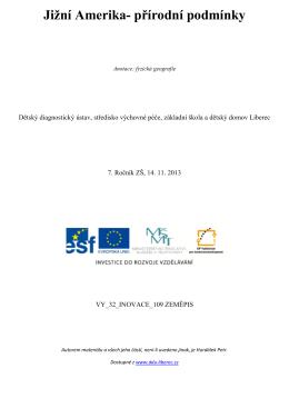 Jižní Amerika- přírodní podmínky - Dětský diagnostický ústav a SVP
