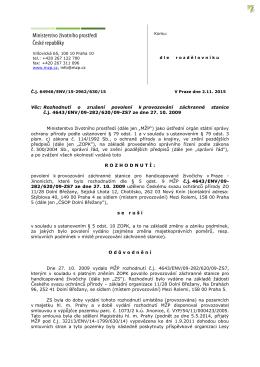Rozhodnutí o zrušení povolení k provozování