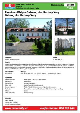 Penzion - Kfely u Ostrova, okr. Karlovy Vary Ostrov, okr