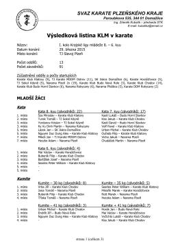 Výsledková listina KLM v karate I.kolo 8-6 kyu 29.03
