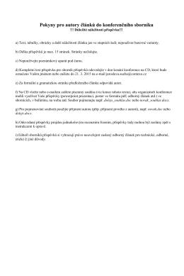 Pokyny pro autory článků do konferenčního sborníku