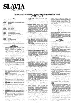 Všeobecné pojistné podmínky pro komplexní