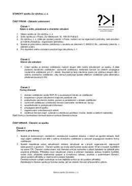 Stanovy, aktualizace 14.3. 2015