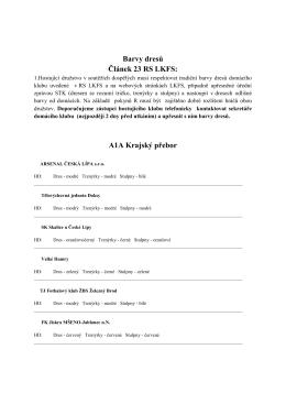 Barvy dresů Článek 23 RS LKFS: A1A Krajský přebor