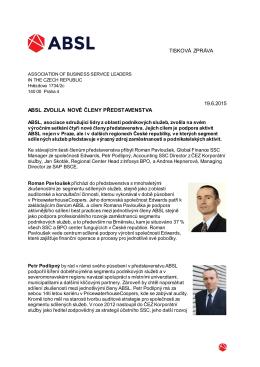 Tisková zpráva ABSL: Noví členové představenstva, 19. června 2015