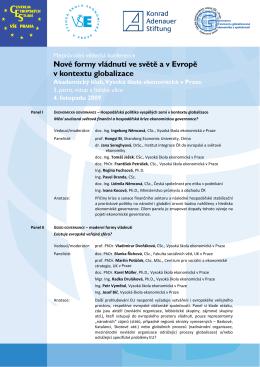 Panel I EKONOMICKÁ GOVERNANCE – Hospodářská politika