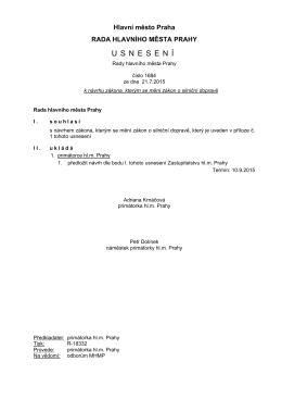 Usnesení Rady hl. města Prahy č. 1684 k návrhu zákona