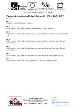 Planimetrie-množiny bodů dané vlastnosti 1 – PRACOVNÍ LIST