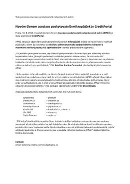 Novým členem asociace poskytovatelů mikropůjček je CreditPortal