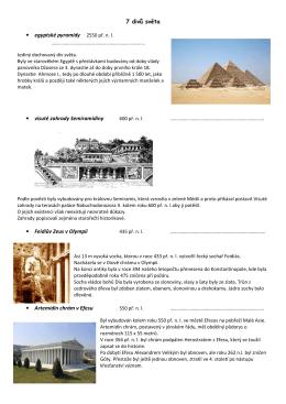 7 divů světa egyptské pyramidy 2550 př. n. l. visuté zahrady