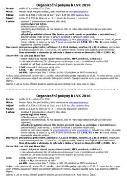 Organizační pokyny k LVK 2016