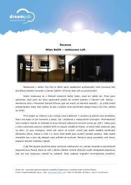 Recenze Milan Ballík – restaurace Loft