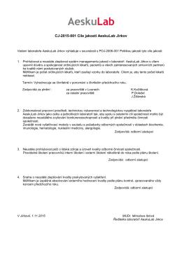 CJ-2015-001 Cíle jakosti AeskuLab Jirkov