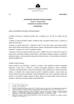 DOPORUČENÍ EVROPSKÉ CENTRÁLNÍ BANKY (ECB/2015/49)