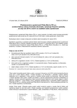 Představenstvo Philip Morris ČR a.s. svolává řádnou valnou