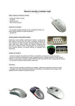 Návod k použití a instalaci myši