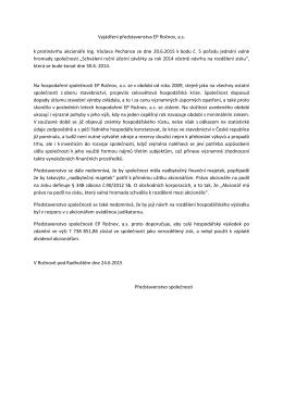 Vyjádření představenstva EP Rožnov