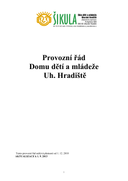 Provozní řád - DDM Šikula Uherské Hradiště