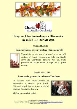 Program Charitního domova Otrokovice na měsíc LISTOPAD 2015