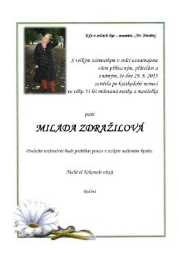 MILADA ZDRAŽILOVÁ