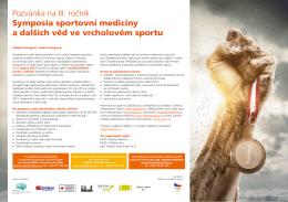 Pozvánka na III. ročník Symposia sportovní medicíny a dalších věd