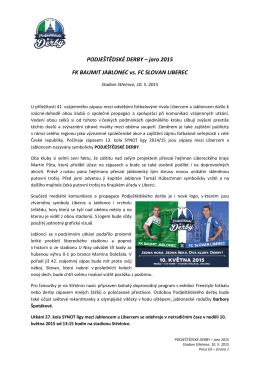 jaro 2015 FK BAUMIT JABLONEC vs. FC SLOVAN LIBEREC
