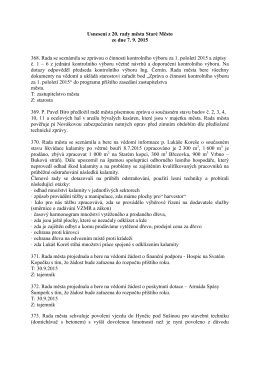 Usnesení z 20. zasedání Rady města Staré Město ze dne 7. 9. 2015