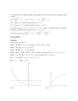 1) Načrtněte grafy zadaných funkcí, určete definiční obory