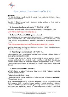 Zápis z jednání Výkonného výboru ČBA 3/2015