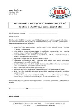 Kvalifikovaný souhlas se zpracováním osobních údajů