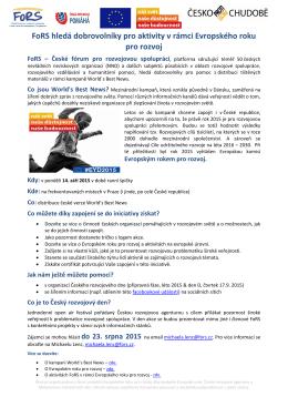 FoRS hledá dobrovolníky pro aktivity v rámci Evropského roku pro