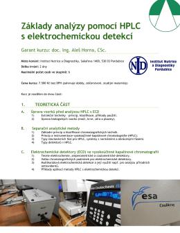 Základy analýzy pomocí HPLC s elektrochemickou